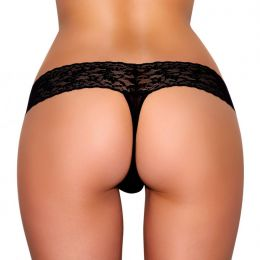 Black Vibrating Lace Thong (Sizes: M/L)
